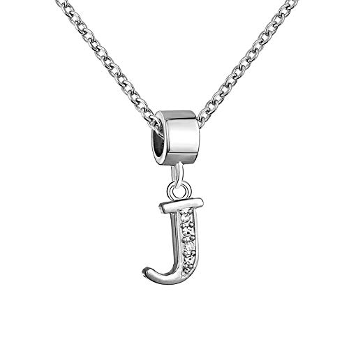 Sug Jasmin A-Z Letter Intial Necklaces 26 Alphabet Letter Pendant for Women Girls with 19' Chain (J)