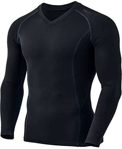 TSLA Ropa interior térmica de compresión para hombre, cuello en V, manga larga, con forro polar Yuv55 - Juego de 1 unidades: color negro y gris XL