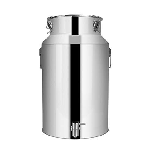 WKDZ Jarra de leche de acero inoxidable 201, con grifo, depósito de leche transportable con tapa cerrada (tamaño: 22 L)