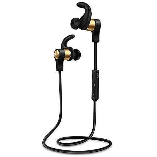 FANG Auricular Bluetooth Oficina,Auriculares Bluetooth Estéreo Subwoofer Llamada Auriculares-Golden,In-Ear Sport Bluetooth Auriculares
