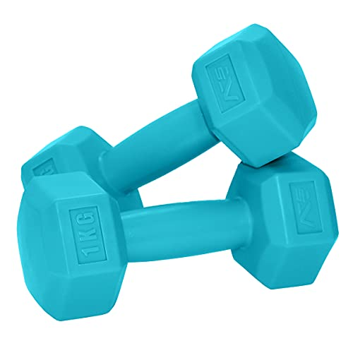 SportVida Hexagon Kurzhantel-Set - Gewichte Hantel Set Weise - Fitness Zuhause - Multifunktionale Mini Hanteln - Nicht Drehbar - Perfekt für zu Hause - (2 x 1 kg)