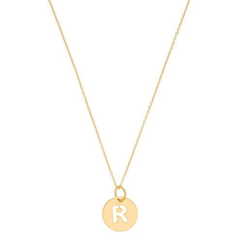 Córdoba Jewels   Gargantilla en Plata de Ley 925 bañada en Oro con diseño Inicial R