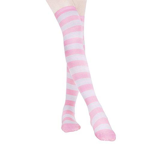 HABI 1 Paar Gestreifte blau rosa & weiß Kniestrümpfe Damen über Knie-Lange Overknee Überknie Strümpfe cosplay Kostüm (1)