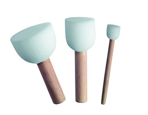 Marabu–Plantilla para Estarcido Stencilling Cepillo, Madera, Color Blanco, Set de 3