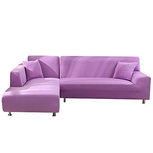papasgix Copridivano con Penisola Elasticizzato Chaise Longue Sofa Cover Componibile in Poliestere a Forma di L 2 Pezzi, Fodere per Divano Angolare(2 Posti + 3 Posti, Viola Chiaro)