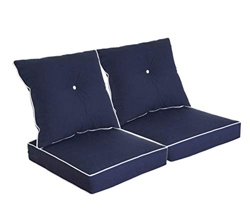 BOSSIMA Patio Furniture Cushions for Deep Seat and Loveseat, Outdoor Water Repellent Fabric, High Back Design, Set of 2, Navy Blue