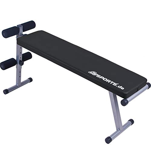 ScSPORTS Hantelbank klappbar, Trainingsbank Verstellbar, Sit-up Bank mit Beinfixierung, Extra Lang, Schwarz