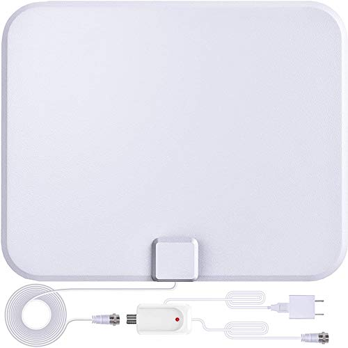 Indoor TV Antenna-Indoor Digital TV Antenna with Amplifier-180 Miles Range Reception Supports 4K 1080p and All Older TVs-16.5ft Coax HDTV Cable/AC Adapter