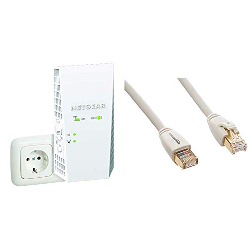 NETGEAR Répéteur WiFi Mesh EX7300 (Amplificateur WiFi) Dual Band, Couvre jusqu'à 200m2 et 35 Appareils & Amazon Basics Câble réseau Ethernet RJ45 catégorie 7-3 mètres