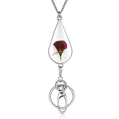 Necklace Lanyard for Women Elegance Badge Lanyards ID Necklaces Crimmy Stainless Steel Chain for ID Badge Holder and Keys (Rose)
