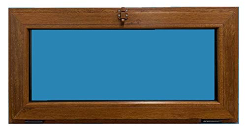 ECO-BLU Ventana PVC golpete 1h Color Madera (Roble dorado) 1000x500 mm
