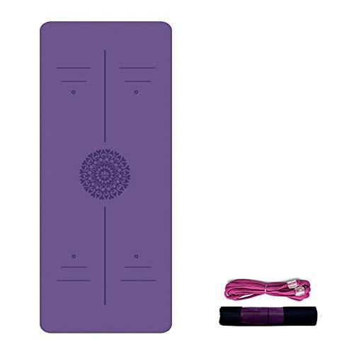 Esterilla Yoga Antideslizante Alfombrilla de Yoga Esterilla Pilates Esterilla Deporte- con Correa de Hombro 183cm x 61cm (Color : Purple)