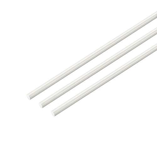 Rundstab aus Kunststoff, 1/16 Zoll Durchmesser, 20 Zoll Länge, Kunststoff-Stange, rund, aus Fiberglas FRP weiß, 3 Stück