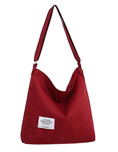 Covelin Women's Retro Large Size Canvas Shoulder Bag Hobo Crossbody Handbag Casual Tote Wine Red