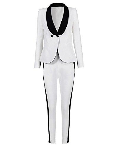 UONBOX Women's 2 Pieces Slim Fit One Buckle Blazer Jacket and Pants Suit Set (L, white)