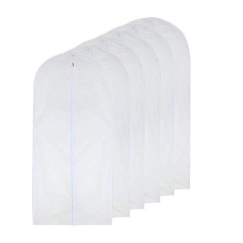 HomeClean Kleidersack Durchsichtig 60cm x 100cm Anzug Tasche Mottenfest Kleidersäcke Weiß Atmungsaktiv Voller Reißverschluss Staubschutz für Anzug Tanzkleidung Schrank Packung mit 6