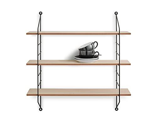 String Clara - Estantería de pared (laterales de metal y 3 estantes de madera, 60 x 62 cm), color negro