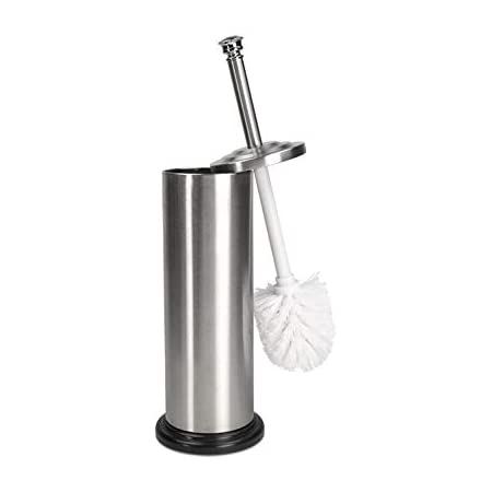 Home Basics Stainless Steel Toilet Brush Holder With Diamond Top For Bathroom Storage Heavy Duty Deep Cleaning Silver Kitchen Dining