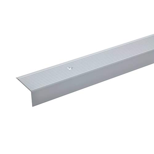 acerto 32022 Aluminium Treppenwinkel-Profil - 20x40mm * Rutschhemmend * Robust * Leichte Montage | Treppenkanten-Profil Treppenstufen-Profil aus Alu | Gelochtes Stufenkanten-Profil (135 cm, silber)