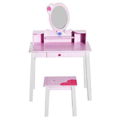HOMCOM Coiffeuse Enfant - Tabouret Inclus - Table de Maquillage dim. 60L x 34l x 93H cm - tiroir, étagères, Miroir - Bois de pin, MDF - Rose Blanc