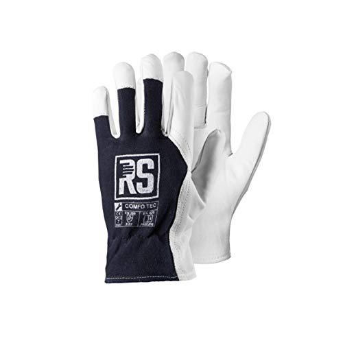 COMFO TEC 12 Paar, Montagehandschuhe aus Ziegenleder, Leder Handschuhe Arbeitshandschuhe, Lederhandschuhe mit Klettverschluss, ISO, CE PSA CAT II, EN 420, EN 388 - Gr. 9
