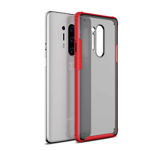 DAMONDY Oneplus 8 Pro Case | Ultra Thin | Full Body Protective | Hard Back Phone Cover | Bumper Slim Fit Shell | Semi-Transparent | Lightweight Cases for Oneplus 8 Pro 2020 -Red