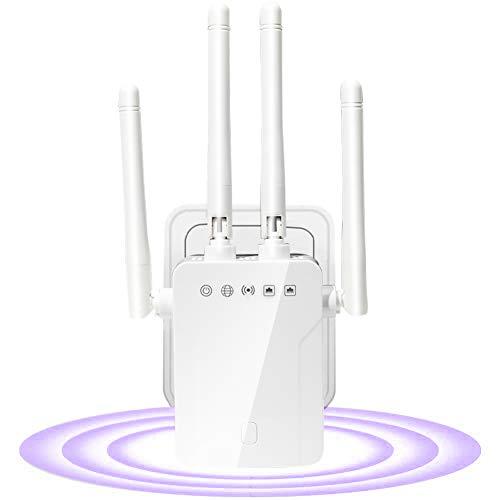 SOOTEWAY Amplificador Señal WiFi,300Mbps/2.4 GHz Repetidores WiFi Amplificador Extensor de WiFi con Largo Alcance Modo Punto de Acceso/Repeater/Router/Cliente(2 Puerto LAN/WAN,4 Antenas Externas,WPS)