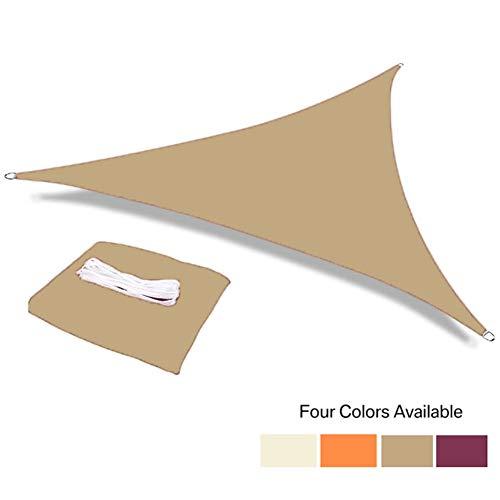 ZXD Impermeabile 95% Anti-UV Poliestere Triangolo Tenda da Sole Shading Net Parasole Sail Esterna Sdraio Capanno Canopy Ombra Panno (Color : Sand Yellow, Size : 3x3x3m)