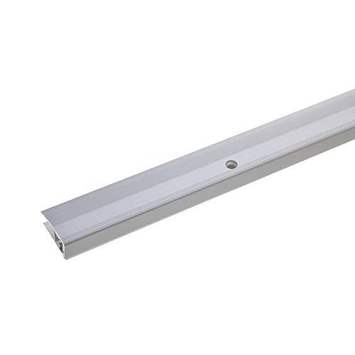 acerto 35835 Aluminium Abschlussprofil 3- teilig - 90cm – silber, 7-17mm, gebohrt * Robust * Leichte Montage | Aluprofil als professionelles Wandanschlussprofil | Wand-Abschlussleiste für Laminat