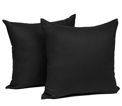 WOLTU® KB5151szQ2, 2X Kissenbezug Kissenhülle 100% Baumwolle mit Reissverschluss, 2er Set Sofakissen Dekokissen Kissen Bezug, Kopfkissen Hülle Bezüge Doppelpack, 30x30 cm, Schwarz