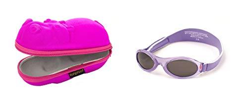 Baby Geschenkpackung rosa Nilpferd-Brillenetui und Lila Blüten Babybanz Sonnenbrille 0-2 Jahre.