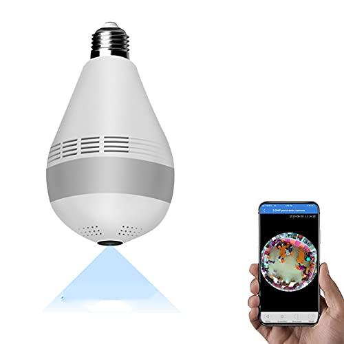 Cámara De Bombilla, Cámara De Seguridad WiFi Full HD 1080P, Cámaras Domésticas Inalámbricas Panorámicas De 360 ° Con Detección De Movimiento Por Visión Nocturna, Para Monitor De Oficina / Bebé / Masco