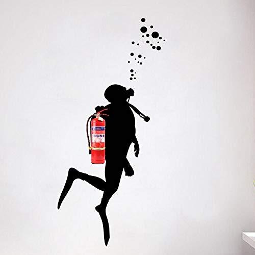 PMSMT Calcomanas de Arte de Pared de Buzo de Fuego para decoracin de Oficina, Disfraz de extintor Pegatina de Pared de Vinilo Mural decoracin de Pared de Arte de Oficina