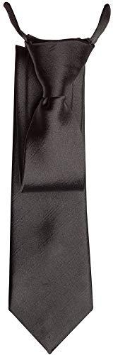 Gravata cinza escuro lisa falsa com nó pronto - Tradicional