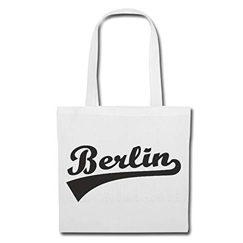 Tasche Umhängetasche Berlin - Brandenburg - LANDESHAUPTSTADT - BRANDENBURGER Tor - KREUZBERG Einkaufstasche Schulbeutel Turnbeutel in Weiß