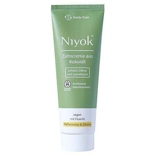 Niyok® Kokosöl Zahnpasta ohne Mikroplastik Plastik | Bio Naturkosmetik Sensitiv auch für Kinder ab 6 Jahren | Herbal | natürliche Zahncreme VEGAN | Pfefferminze & Zitrone mit Fluorid (75ml)