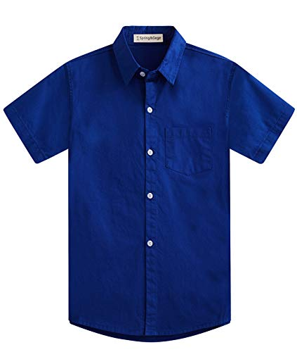 Spring&Gege Jungen Kurzarm Einfarbig Formale Baumwoll Hemden Klassisch Schuluniform Shirts für Kinder Königsblau 128 134