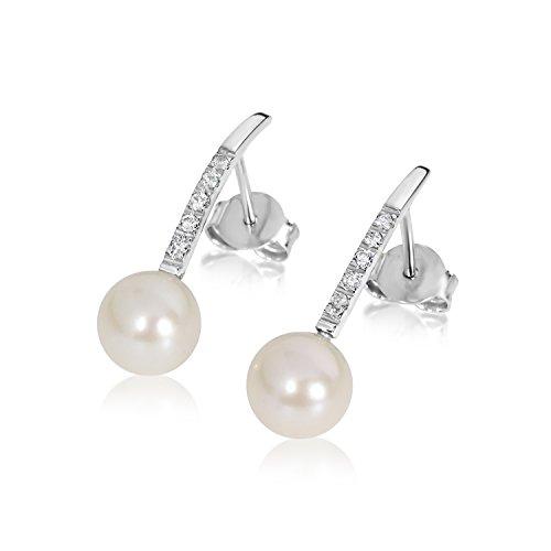 Pendientes Mujer Oro y Diamantes - Oro Blanco 9 Quilates 375 ♥ Diamantes 0.10 Quilates ♥ Perlas 7.0 mm - joyas de fantasía para mujer