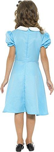 Smiffys-45962S Disfraz País de las Maravillas, con vestido, delantal cosido y diadema, color azul, S-Edad 4-6 años (Smiffy