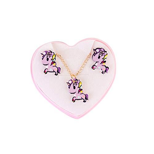 YeahiBaby Unicornio, Colgante, Collar y Orejeras, Pendientes de Unicornio, Conjunto de Joyas de Animales Lindos para Damas Mujeres niñas (Color Aleatorio)