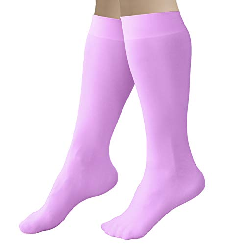 CRS Cross Figure Skating Socks (2 Pair) Knee High Tights for Ice Skates, Footed Skate Socks, Dance tights (Pivot Purple)