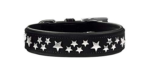 HUNTER SOFTIE STARS Hundehalsband, Kunstleder, mit Stern Applikationen, 45 (S-M), schwarz
