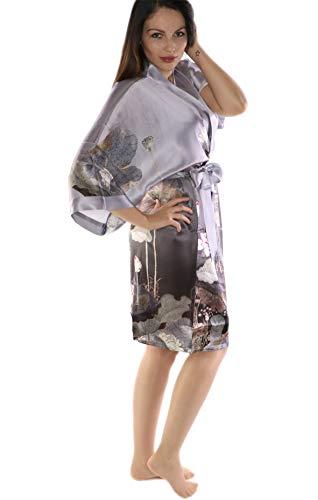 prettystern Damen Knie-lang Seide Kimono Wickel-Kleid Morgenmantel Robe Floral Print hell-grau SK01