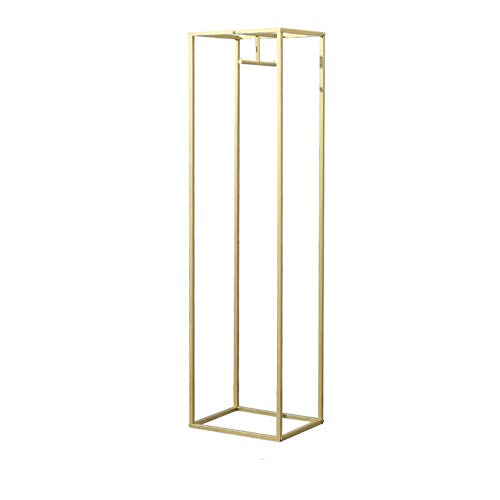 FURVOKIA Modern Clothes Retail Heavy Duty Garment Racks,Metal Clothing Store Hanger Storage Shelves,Floor-Standing Display Rack (Gold Square Tube, 71
