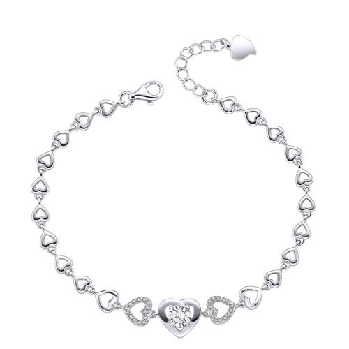 Elegante pulsera para mujer de plata de ley 925 y oro blanco con cristales brillantes, ajustable, para San Valentín, Día de la Madre, cumpleaños, para mujer, esposa o mamá