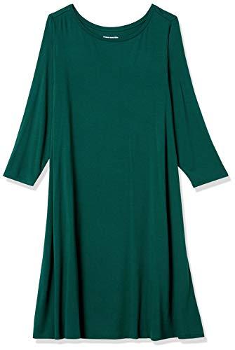 Amazon Essentials Plus Size 3/4 Sleeve Boatneck Dress Vestido, Verde Jade, Cuadros Escoceses, XXL Grande