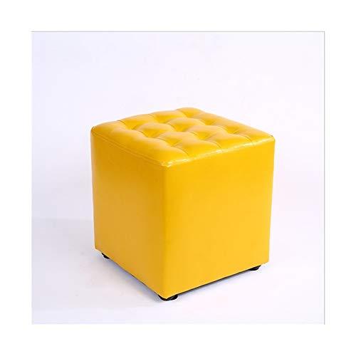 MQH Otomano de Cuero Cuadrado Taburete de Descanso pequeño sofá Banco Sesión de Asiento Acolchado para Silla Sala de Estar decoración de Dormitorio (Color : Yellow)