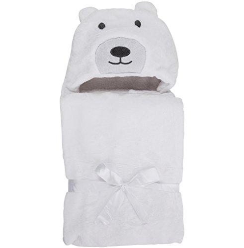 Asciugamano con Cappuccio per Neonati - Morbido Accappatoio Poncho in Microfibra per Bambini (Orso Polare)