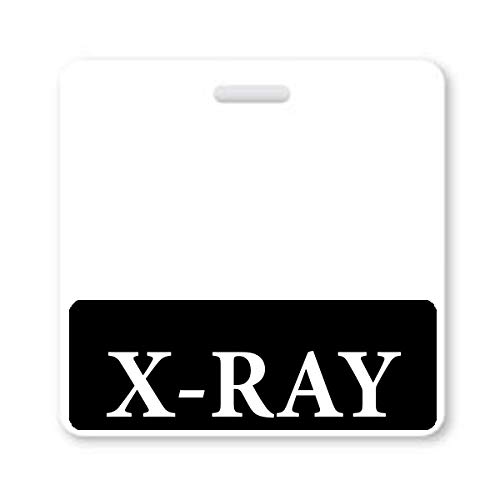 X-RAY Badge Buddy - Heavy Duty Horizontal Badge Buddies for X Ray Technicians - Spill & Tear Proof Cards - 2 Sided USA Printed Quick Role Identifier ID Tag Backer by Specialist ID