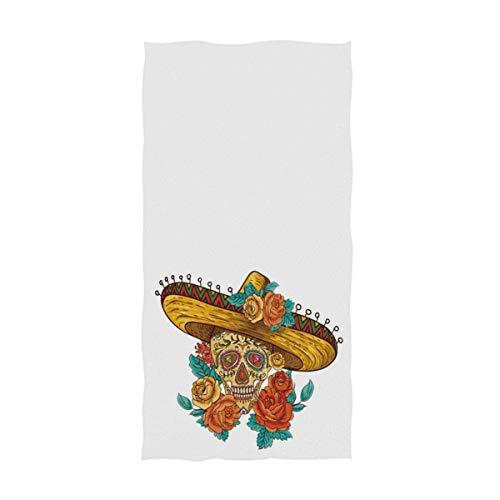 OCEAN AN Día de los Muertos Calavera de azúcar Estampado Suave Invitado Altamente Absorbente Toallas Decorativas para el hogar Grandes Multiusos (15.7'x27.5)